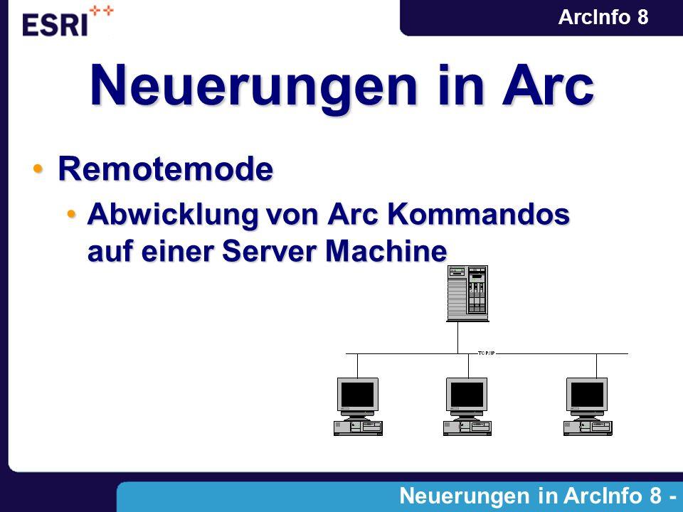 ArcInfo 8 RemotemodeRemotemode Abwicklung von Arc Kommandos auf einer Server MachineAbwicklung von Arc Kommandos auf einer Server Machine Neuerungen i
