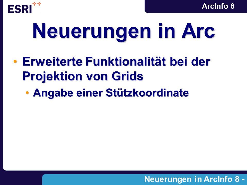 ArcInfo 8 Erweiterte Funktionalität bei der Projektion von GridsErweiterte Funktionalität bei der Projektion von Grids Angabe einer StützkoordinateAng