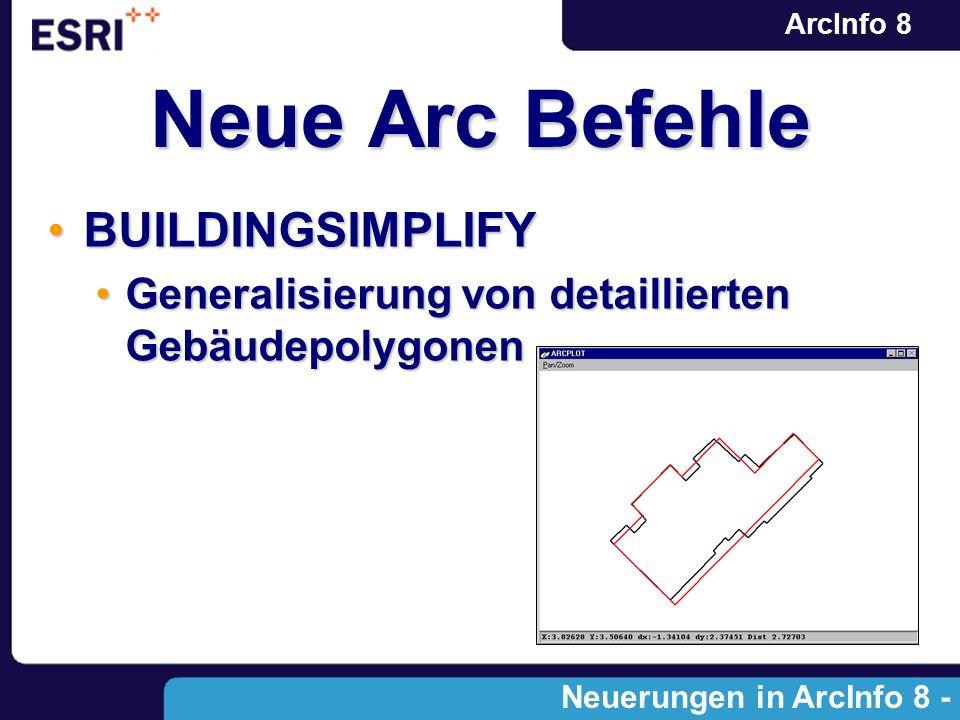 ArcInfo 8 Neue Arc Befehle BUILDINGSIMPLIFYBUILDINGSIMPLIFY Generalisierung von detaillierten GebäudepolygonenGeneralisierung von detaillierten Gebäud