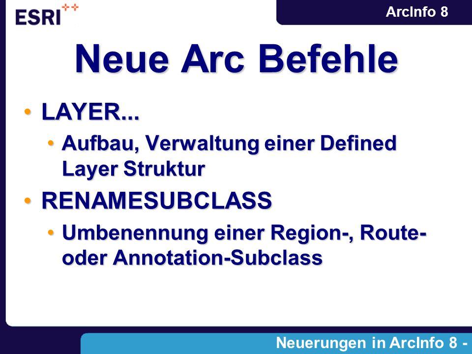 ArcInfo 8 Neue Arc Befehle LAYER...LAYER... Aufbau, Verwaltung einer Defined Layer StrukturAufbau, Verwaltung einer Defined Layer Struktur RENAMESUBCL