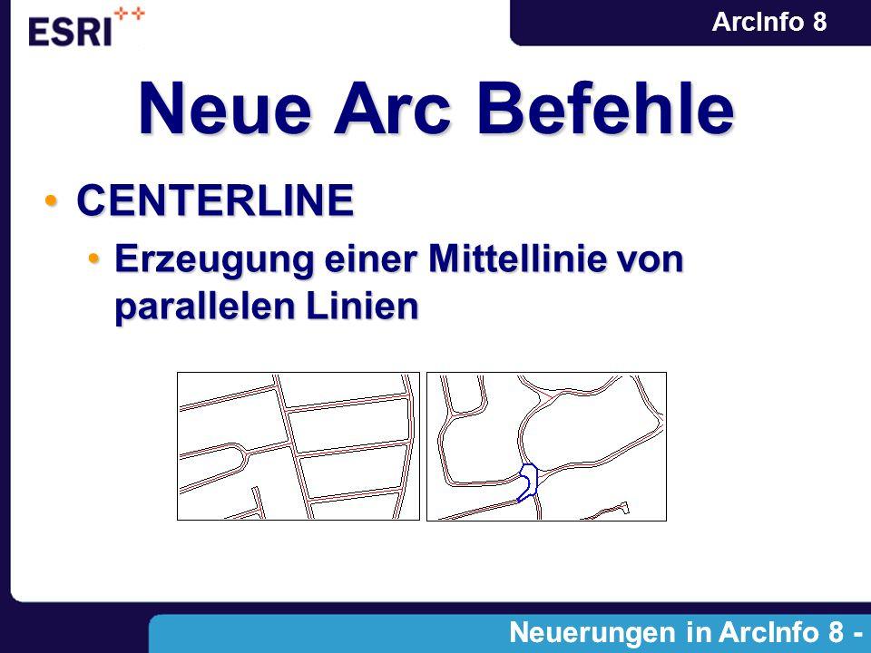 ArcInfo 8 Neue Arc Befehle CENTERLINECENTERLINE Erzeugung einer Mittellinie von parallelen LinienErzeugung einer Mittellinie von parallelen Linien Neu
