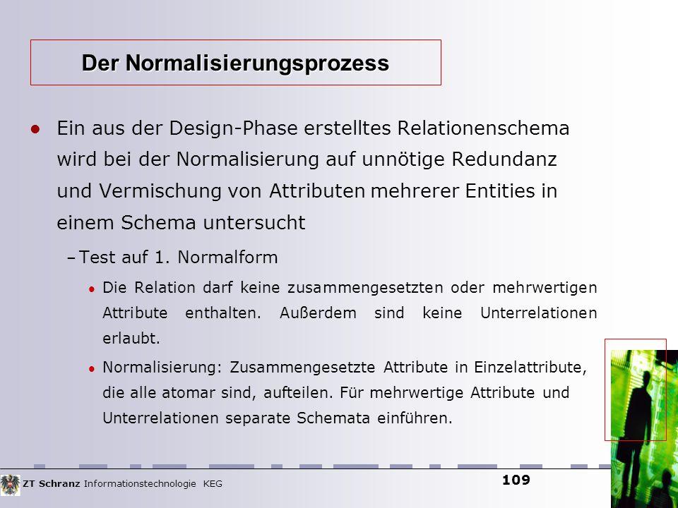 ZT Schranz Informationstechnologie KEG 109 Ein aus der Design-Phase erstelltes Relationenschema wird bei der Normalisierung auf unnötige Redundanz und