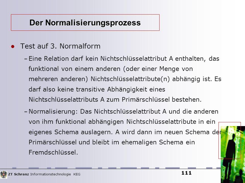 ZT Schranz Informationstechnologie KEG 111 Test auf 3. Normalform – Eine Relation darf kein Nichtschlüsselattribut A enthalten, das funktional von ein