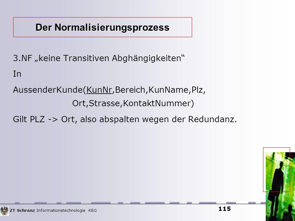 ZT Schranz Informationstechnologie KEG 115 3.NF keine Transitiven Abghängigkeiten In AussenderKunde(KunNr,Bereich,KunName,Plz, Ort,Strasse,KontaktNumm