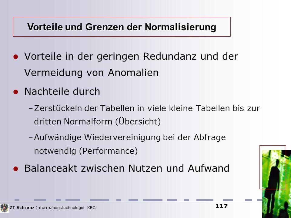 ZT Schranz Informationstechnologie KEG 117 Vorteile in der geringen Redundanz und der Vermeidung von Anomalien Nachteile durch – Zerstückeln der Tabel