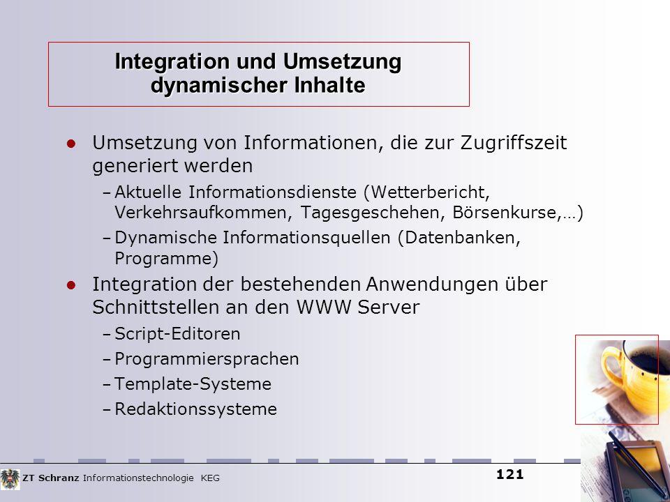 ZT Schranz Informationstechnologie KEG 121 Integration und Umsetzung dynamischer Inhalte Umsetzung von Informationen, die zur Zugriffszeit generiert w