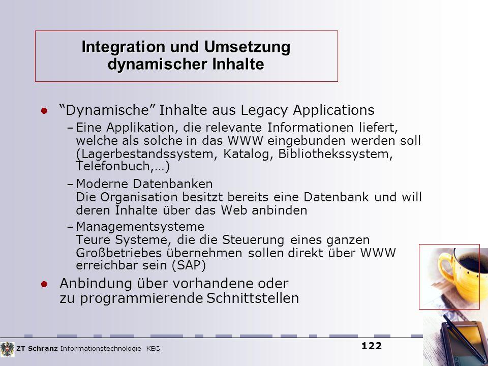 ZT Schranz Informationstechnologie KEG 122 Integration und Umsetzung dynamischer Inhalte Dynamische Inhalte aus Legacy Applications – Eine Applikation