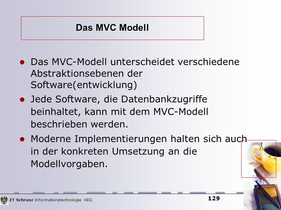 ZT Schranz Informationstechnologie KEG 129 Das MVC Modell Das MVC-Modell unterscheidet verschiedene Abstraktionsebenen der Software(entwicklung) Jede