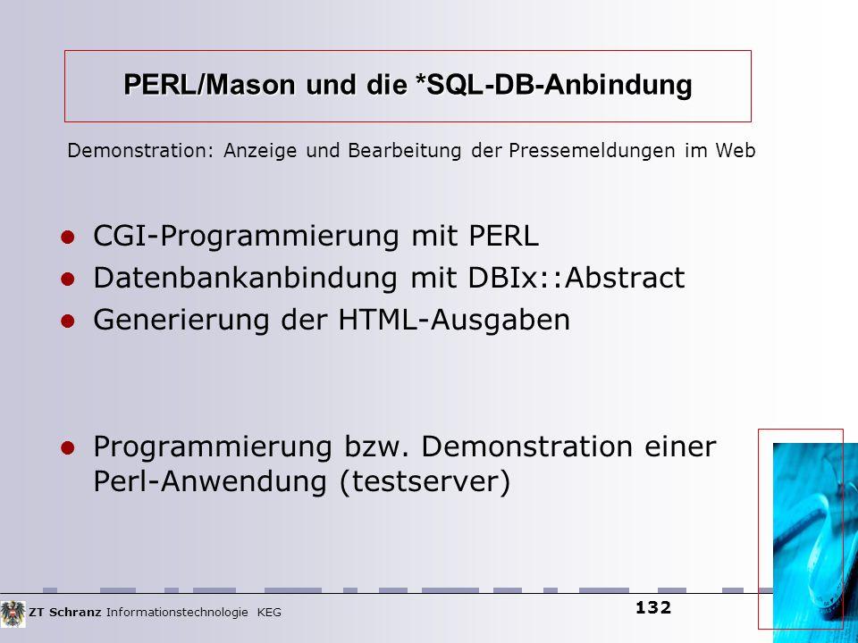 ZT Schranz Informationstechnologie KEG 132 PERL/Mason und die *SQL-DB-Anbindung CGI-Programmierung mit PERL Datenbankanbindung mit DBIx::Abstract Gene
