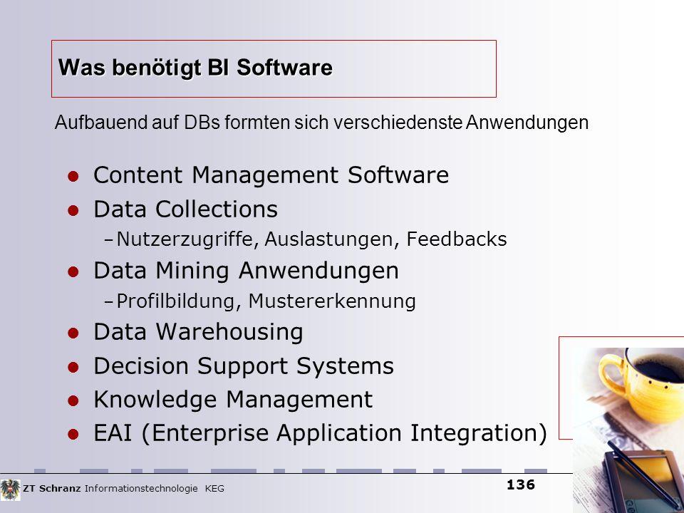ZT Schranz Informationstechnologie KEG 136 Was benötigt BI Software Content Management Software Data Collections – Nutzerzugriffe, Auslastungen, Feedb