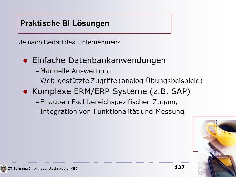 ZT Schranz Informationstechnologie KEG 137 Praktische BI Lösungen Einfache Datenbankanwendungen – Manuelle Auswertung – Web-gestützte Zugriffe (analog