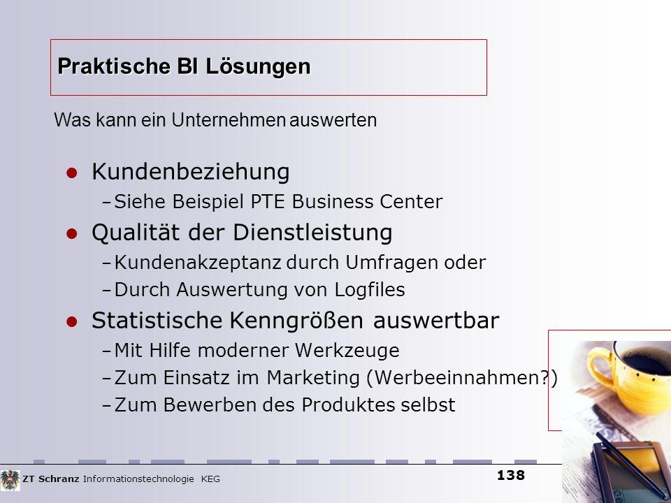 ZT Schranz Informationstechnologie KEG 138 Praktische BI Lösungen Kundenbeziehung – Siehe Beispiel PTE Business Center Qualität der Dienstleistung – K