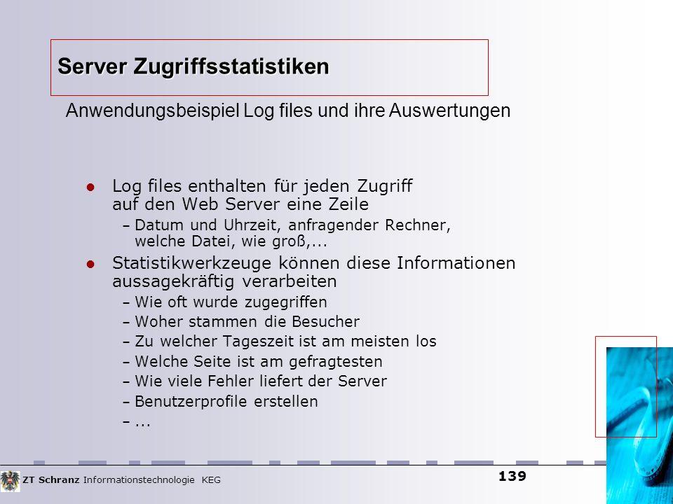 ZT Schranz Informationstechnologie KEG 139 Server Zugriffsstatistiken Log files enthalten für jeden Zugriff auf den Web Server eine Zeile – Datum und