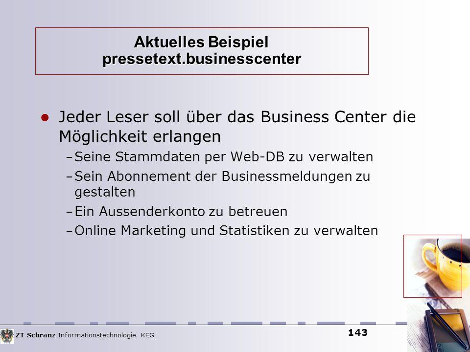 ZT Schranz Informationstechnologie KEG 143 Aktuelles Beispiel pressetext.businesscenter Jeder Leser soll über das Business Center die Möglichkeit erla
