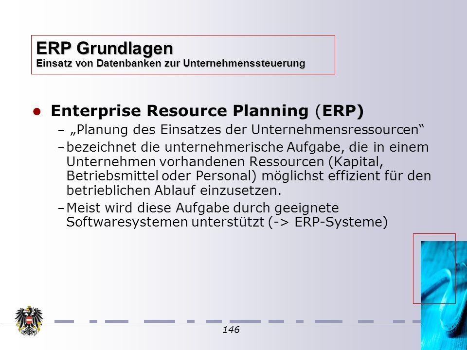 146 Enterprise Resource Planning (ERP) – – Planung des Einsatzes der Unternehmensressourcen – – bezeichnet die unternehmerische Aufgabe, die in einem