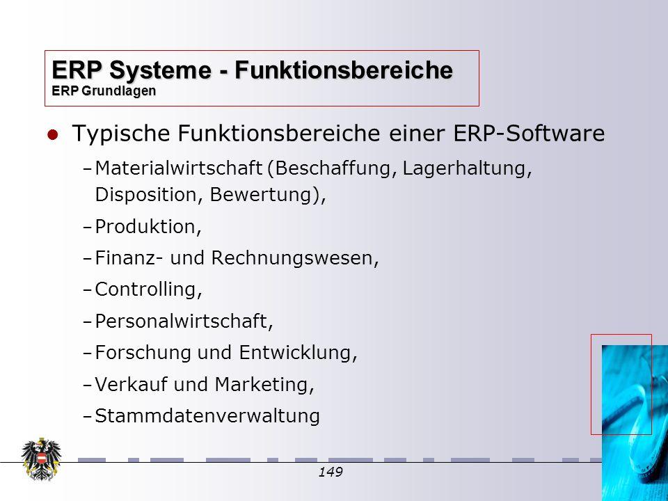 149 Typische Funktionsbereiche einer ERP-Software – – Materialwirtschaft (Beschaffung, Lagerhaltung, Disposition, Bewertung), – – Produktion, – – Fina