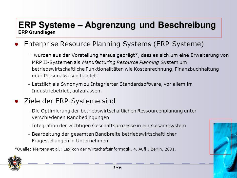 156 Enterprise Resource Planning Systems (ERP-Systeme) – – wurden aus der Vorstellung heraus geprägt*, dass es sich um eine Erweiterung von MRP II-Sys
