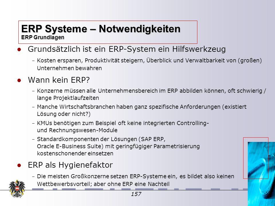 157 Grundsätzlich ist ein ERP-System ein Hilfswerkzeug – – Kosten ersparen, Produktivität steigern, Überblick und Verwaltbarkeit von (großen) Unterneh