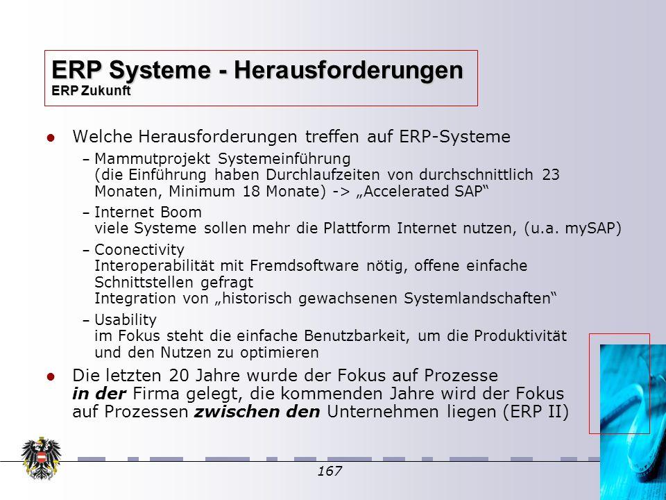 167 Welche Herausforderungen treffen auf ERP-Systeme – – Mammutprojekt Systemeinführung (die Einführung haben Durchlaufzeiten von durchschnittlich 23