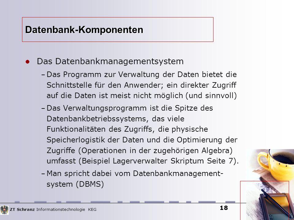 ZT Schranz Informationstechnologie KEG 18 Datenbank-Komponenten Das Datenbankmanagementsystem – Das Programm zur Verwaltung der Daten bietet die Schni