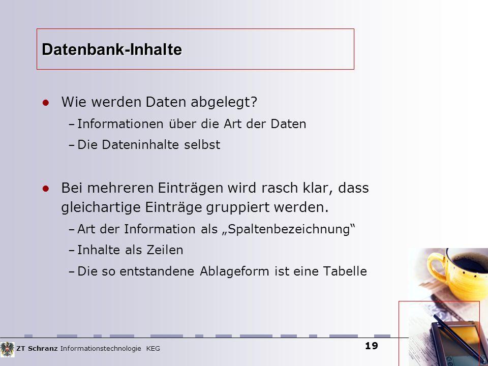 ZT Schranz Informationstechnologie KEG 19 Datenbank-Inhalte Wie werden Daten abgelegt? – Informationen über die Art der Daten – Die Dateninhalte selbs