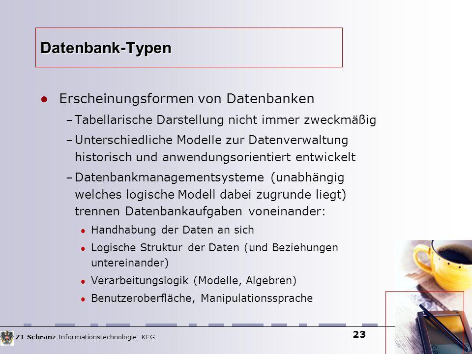 ZT Schranz Informationstechnologie KEG 23 Datenbank-Typen Erscheinungsformen von Datenbanken – Tabellarische Darstellung nicht immer zweckmäßig – Unte