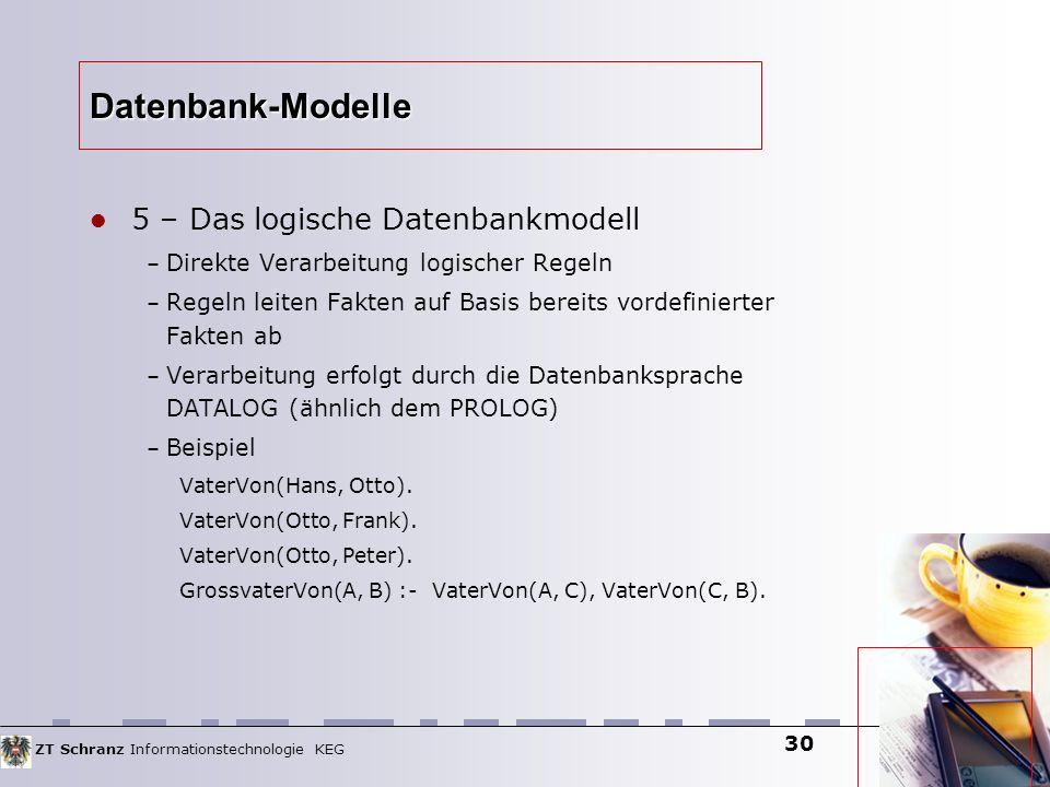 ZT Schranz Informationstechnologie KEG 30 Datenbank-Modelle 5 – Das logische Datenbankmodell – Direkte Verarbeitung logischer Regeln – Regeln leiten F