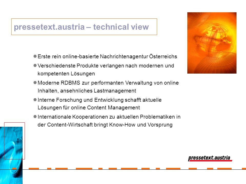 Erste rein online-basierte Nachrichtenagentur Österreichs Verschiedenste Produkte verlangen nach modernen und kompetenten Lösungen Moderne RDBMS zur p