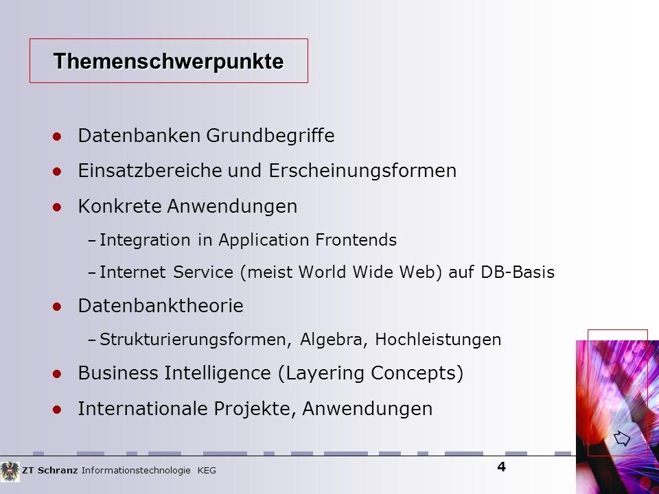 ZT Schranz Informationstechnologie KEG 4 Datenbanken Grundbegriffe Einsatzbereiche und Erscheinungsformen Konkrete Anwendungen – Integration in Applic