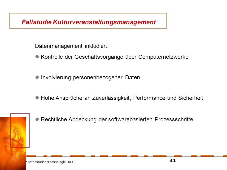 ZT Schranz Informationstechnologie KEG 41 Datenmanagement inkludiert: Kontrolle der Geschäftsvorgänge über Computernetzwerke Involvierung personenbezo