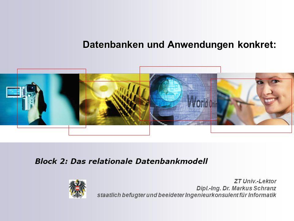 ZT Univ.-Lektor Dipl.-Ing. Dr. Markus Schranz staatlich befugter und beeideter Ingenieurkonsulent für Informatik Datenbanken und Anwendungen konkret: