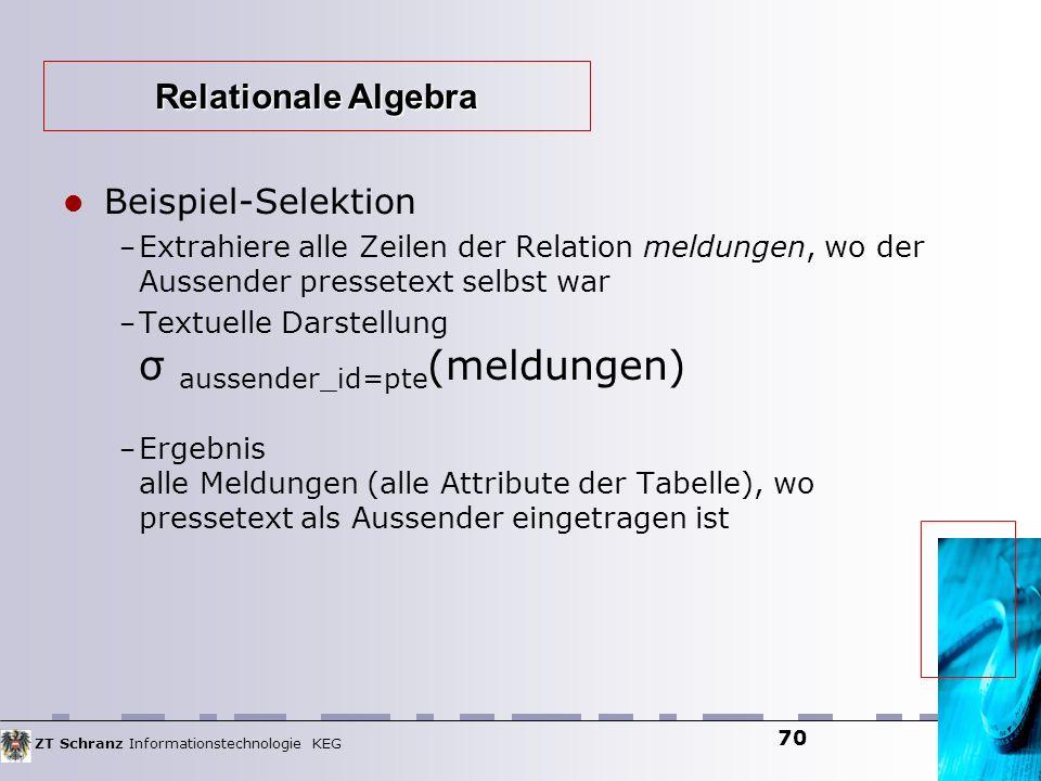 ZT Schranz Informationstechnologie KEG 70 Beispiel-Selektion – Extrahiere alle Zeilen der Relation meldungen, wo der Aussender pressetext selbst war –