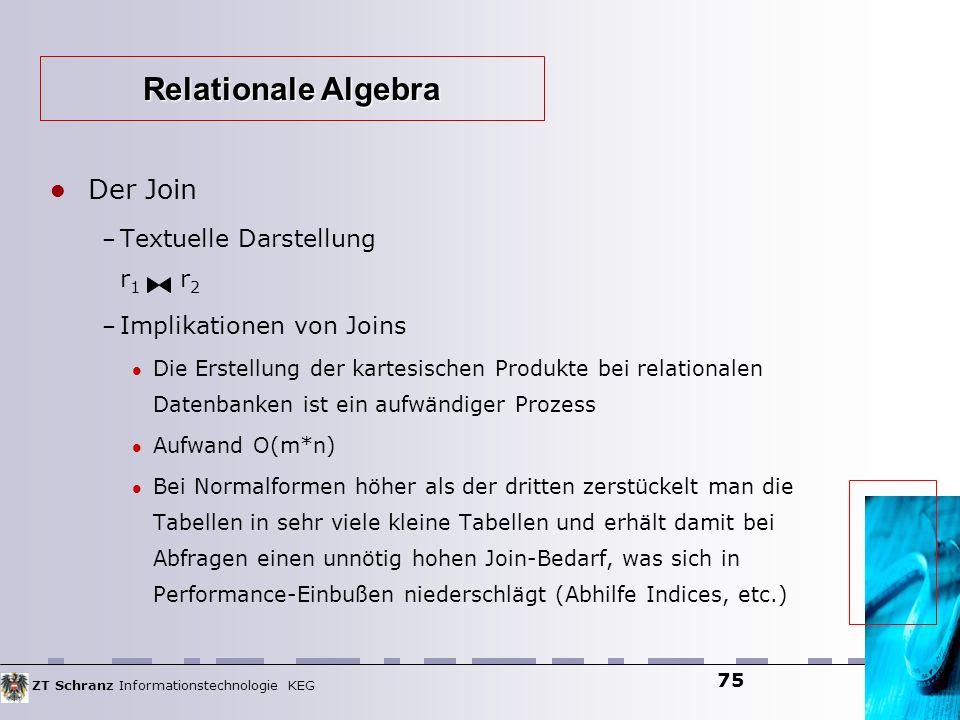 ZT Schranz Informationstechnologie KEG 75 Der Join – Textuelle Darstellung r 1 r 2 – Implikationen von Joins Die Erstellung der kartesischen Produkte