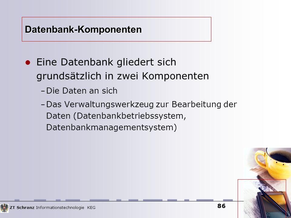 ZT Schranz Informationstechnologie KEG 86 Datenbank-Komponenten Eine Datenbank gliedert sich grundsätzlich in zwei Komponenten – Die Daten an sich – D