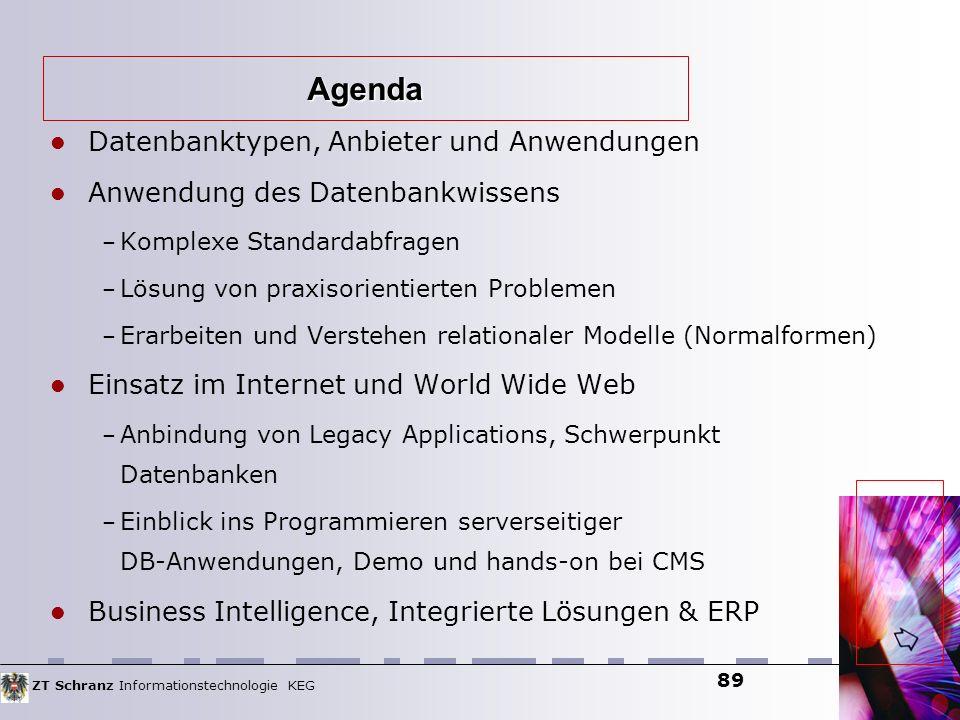 ZT Schranz Informationstechnologie KEG 89 Datenbanktypen, Anbieter und Anwendungen Anwendung des Datenbankwissens – Komplexe Standardabfragen – Lösung