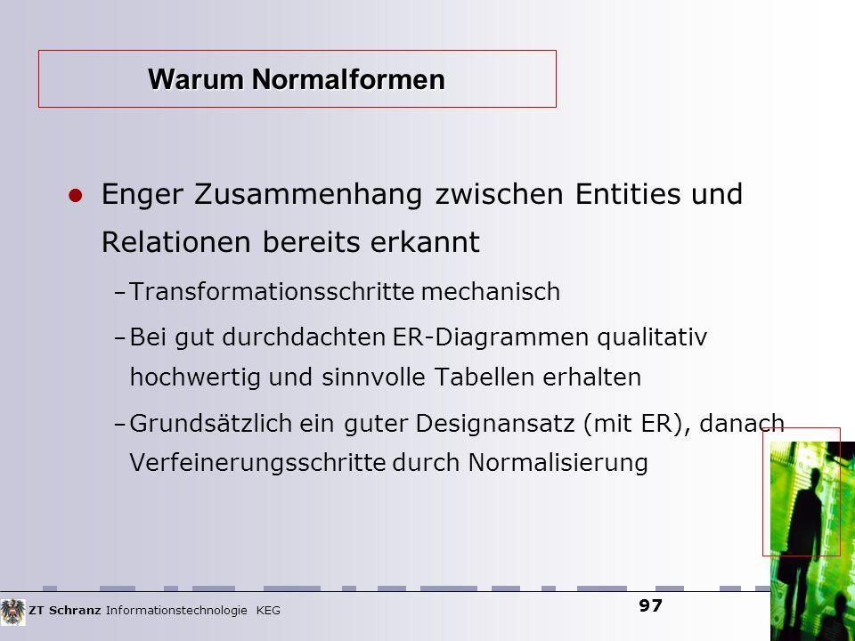 ZT Schranz Informationstechnologie KEG 97 Enger Zusammenhang zwischen Entities und Relationen bereits erkannt – Transformationsschritte mechanisch – B