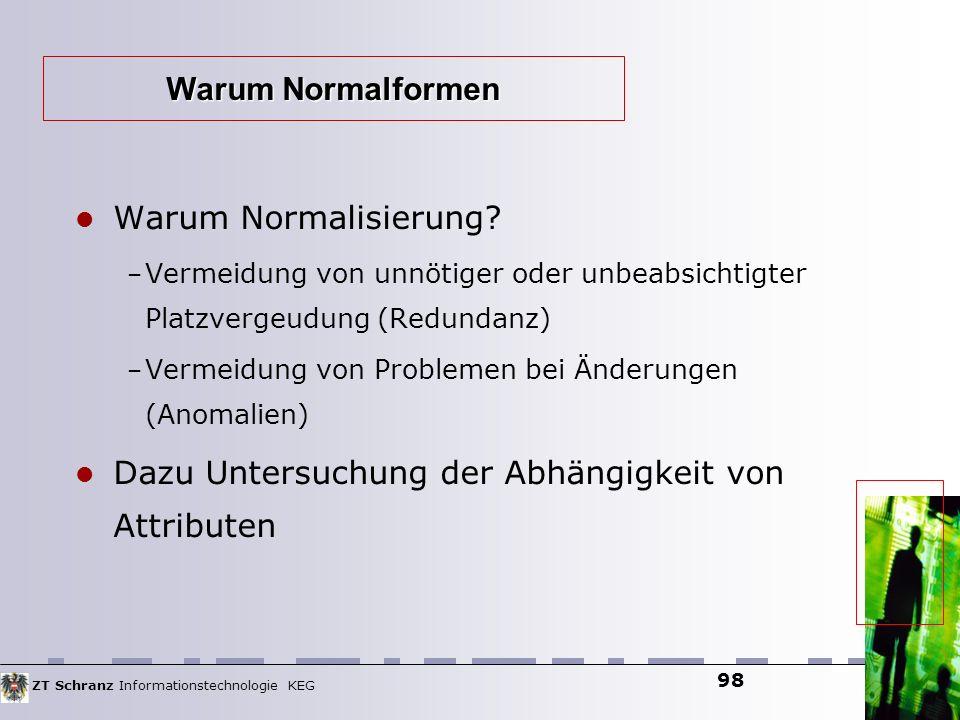 ZT Schranz Informationstechnologie KEG 98 Warum Normalisierung? – Vermeidung von unnötiger oder unbeabsichtigter Platzvergeudung (Redundanz) – Vermeid