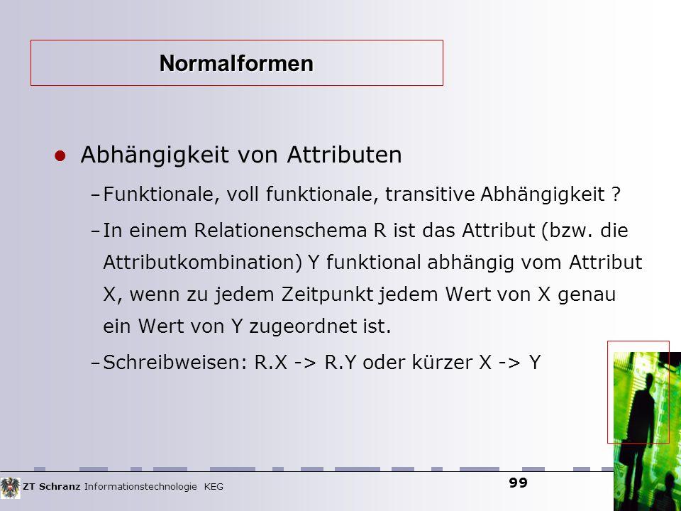 ZT Schranz Informationstechnologie KEG 99 Abhängigkeit von Attributen – Funktionale, voll funktionale, transitive Abhängigkeit ? – In einem Relationen