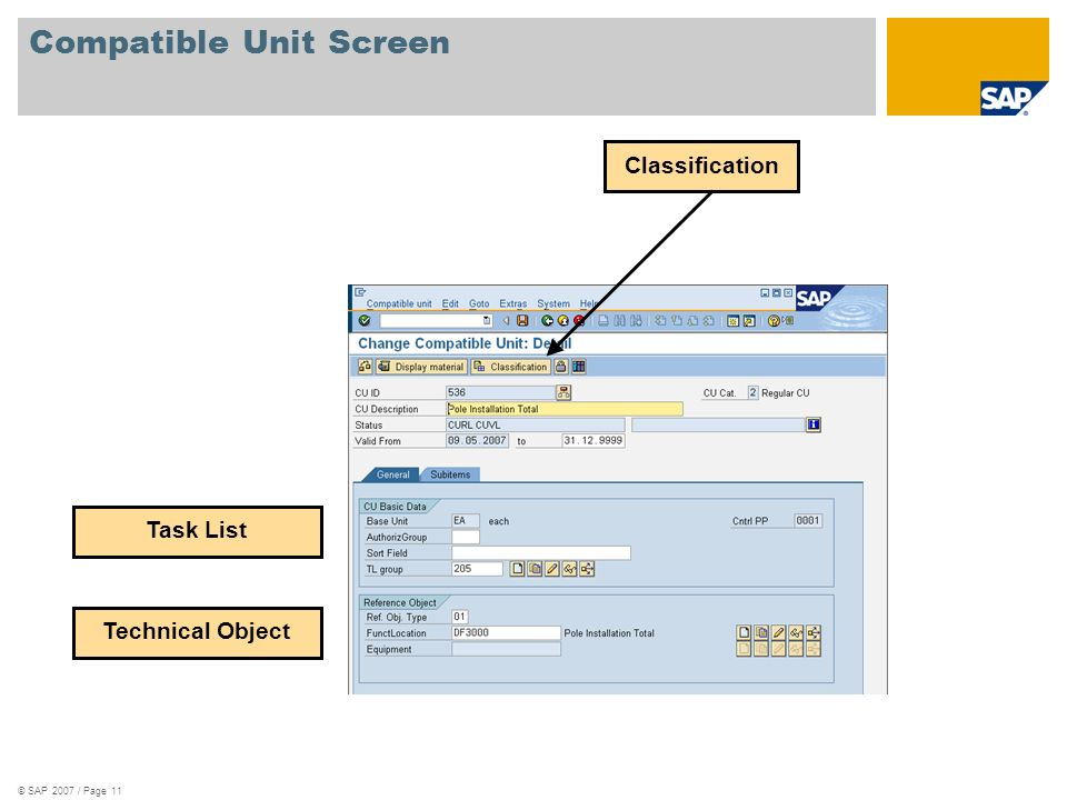 © SAP 2007 / Page 11 Compatible Unit Screen Classification Technical Object Task List