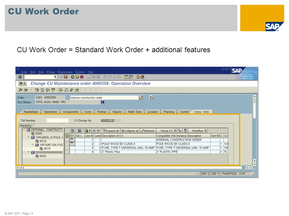 © SAP 2007 / Page 14 CU Work Order CU Work Order = Standard Work Order + additional features
