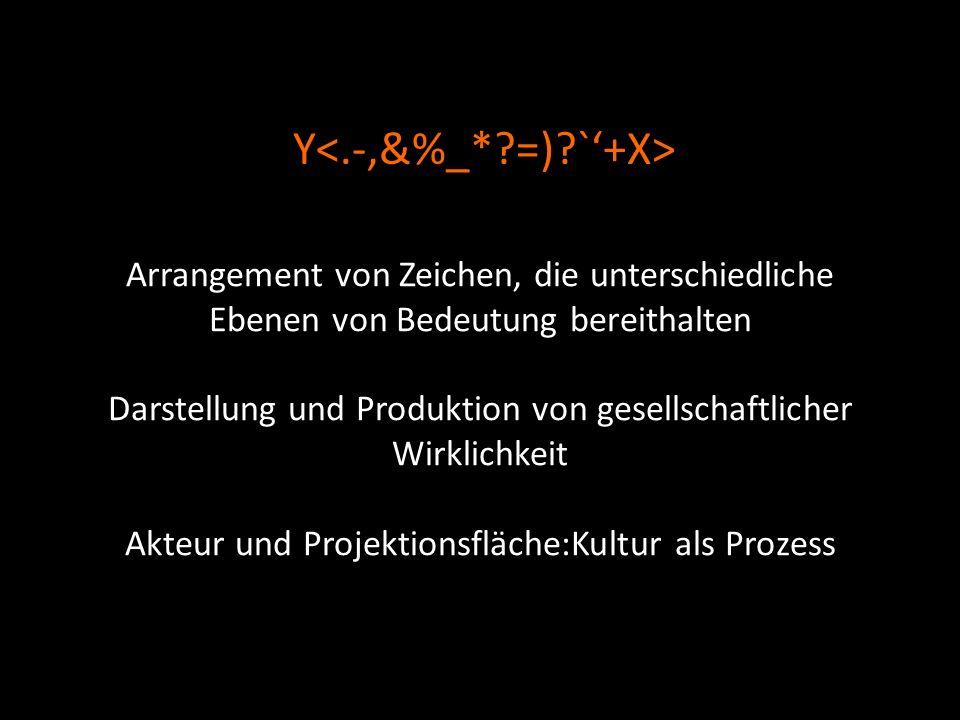 Arrangement von Zeichen, die unterschiedliche Ebenen von Bedeutung bereithalten Darstellung und Produktion von gesellschaftlicher Wirklichkeit Akteur und Projektionsfläche:Kultur als Prozess Y