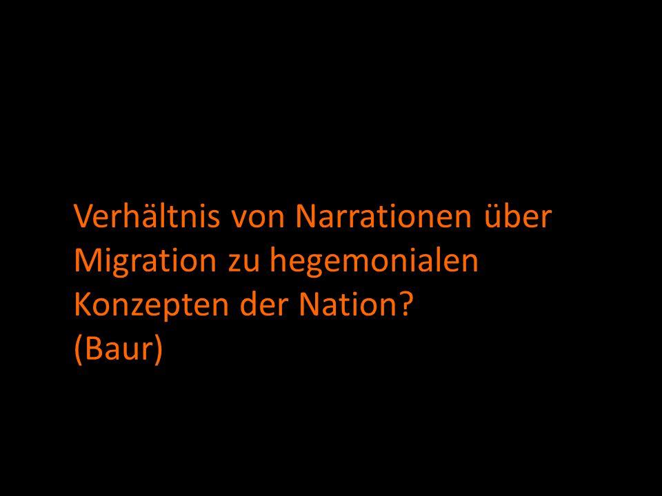 Verhältnis von Narrationen über Migration zu hegemonialen Konzepten der Nation (Baur)