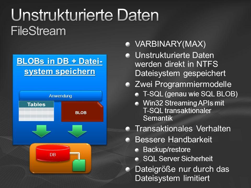 SQL Server 2008 ermöglicht ein effektiveres Arbeiten mit Daten Geo- und unstrukturierte Daten T-SQL Verbesserungen Neue Datentypen Synchronisierungen von Daten ADO.NET Entity Framework …