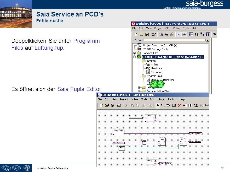 10 Workshop Service Fehlersuche Saia Service an PCD's Fehlersuche Doppelklicken Sie unter Programm Files auf Lüftung.fup. Es öffnet sich der Saia Fupl