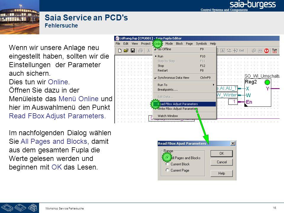 16 Workshop Service Fehlersuche Saia Service an PCD's Fehlersuche Wenn wir unsere Anlage neu eingestellt haben, sollten wir die Einstellungen der Para