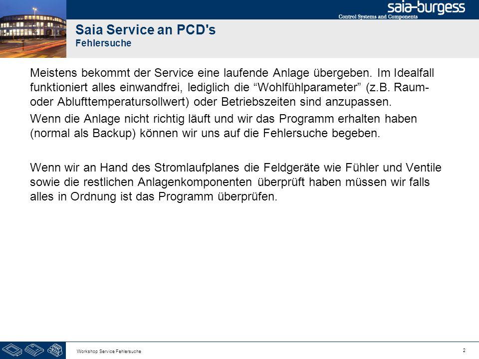 2 Workshop Service Fehlersuche Saia Service an PCD's Fehlersuche Meistens bekommt der Service eine laufende Anlage übergeben. Im Idealfall funktionier