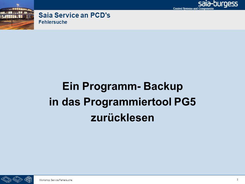 3 Workshop Service Fehlersuche Saia Service an PCD's Fehlersuche Ein Programm- Backup in das Programmiertool PG5 zurücklesen