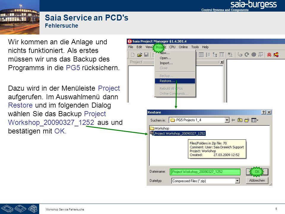 5 Workshop Service Fehlersuche Saia Service an PCD's Fehlersuche Wir kommen an die Anlage und nichts funktioniert. Als erstes müssen wir uns das Backu
