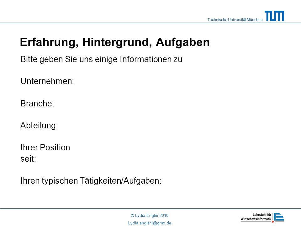 Technische Universität München © Lydia Engler 2010 Lydia.engler1@gmx.de Erfahrung, Hintergrund, Aufgaben Bitte geben Sie uns einige Informationen zu Unternehmen: Branche: Abteilung: Ihrer Position seit: Ihren typischen Tätigkeiten/Aufgaben: