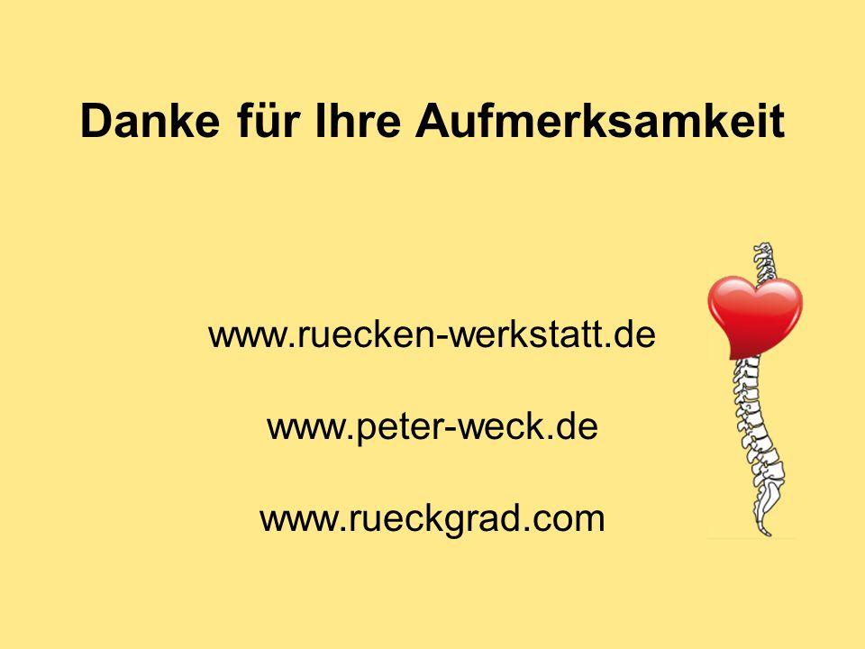 Danke für Ihre Aufmerksamkeit www.ruecken-werkstatt.de www.peter-weck.de www.rueckgrad.com